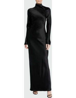 Silk Wrapped Mock-Neck Column Gown