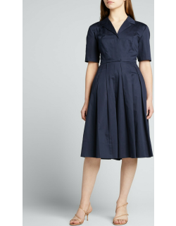 Pleated Cotton Day Dress