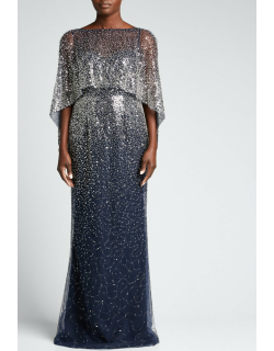 Sequin & Beaded Capelet Gown