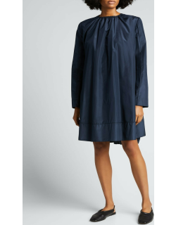 Long-Sleeve Ruched Silk Dress