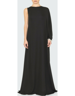 Crystal-Embellished One-Sleeve Gown