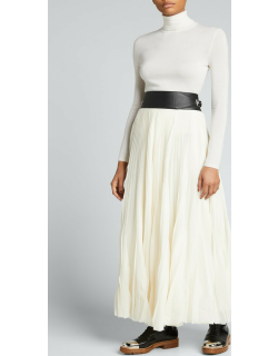 Bartley Long Pleated Voile Skirt w/ Leather Belt