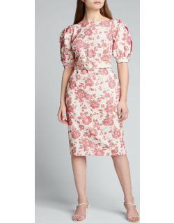 Floral Jacquard Puff-Sleeve Belted Sheath Dress