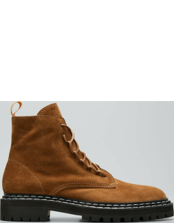 Suede Lace-Up Combat Booties