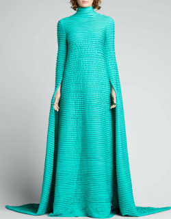 Jersey Ruffle High-Neck Cape Gown