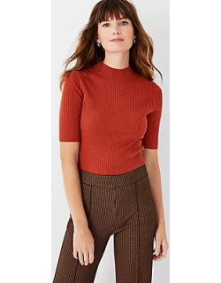 Ann Taylor Petite Ribbed Elbow Sleeve Sweater