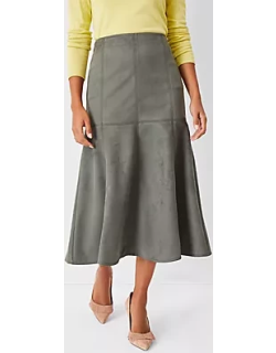 Ann Taylor Faux Suede Flare Midi Skirt