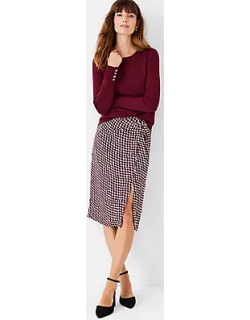 Ann Taylor Houndstooth Knotted Pencil Skirt