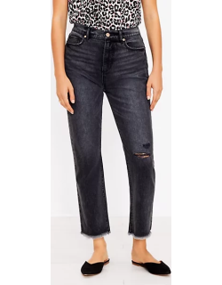 Loft Curvy Destructed High Rise Straight Crop Jeans in Washed Black Wash