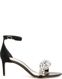 ALEXANDER MCQUEEN CRYSTAL KNOT SANDALS 36 Black Leather