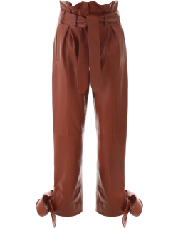 THE ATTICO LEATHER TROUSERS 42 Brown Leather