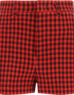 RED VALENTINO GINGHAM SHORTS 40 Red, Black Wool