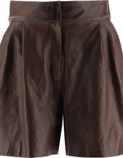 DOLCE & GABBANA LEATHER SHORT PANTS 44 Brown Leather