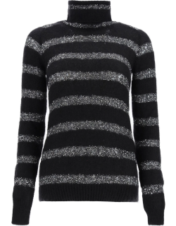 SAINT LAURENT MOHAIR PULLOVER WITH SEQUINS M Black, Silver Wool