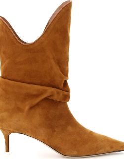 THE ATTICO SUEDE ANKLE BOOTS 40 Brown Leather
