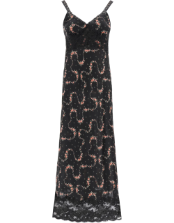 PACO RABANNE LONG FLORAL DRESS WITH LACE 34 Black, Green, Pink