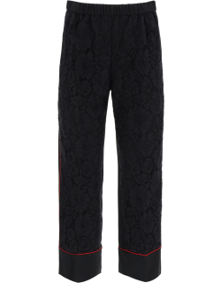 N.21 CROPPED TROUSERS WITH LACE 42 Black, Red Silk, Cotton