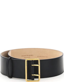 ALEXANDER MCQUEEN MILITARY LEATHER BELT 75 Black Leather