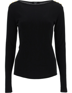BALMAIN BOAT NECK SWEATER WITH BUTTONS 40 Black Cotton