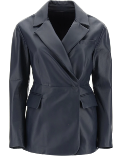 SPORTMAX SINGLE-BREASTED NAPPA JACKET 38 Blue Leather