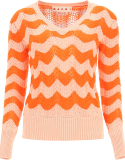 MARNI PERFORATED SWEATER WITH WAVY STRIPES 42 Orange, Pink Cotton