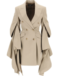 Y PROJECT BLAZER/DRESS WITH GATHERED SLEEVES 36 Beige Linen