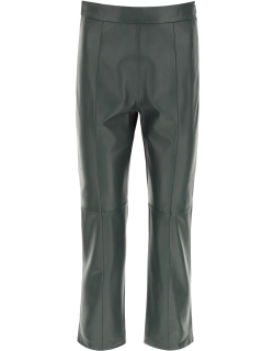 WEEKEND MAX MARA LEATHER TROUSERS 44 Green Leather