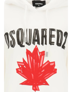 DSQUARED2 HOODIE WITH LOGO S White, Red, Black Cotton