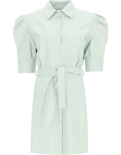 DROME LEATHER DRESS WITH BELT S Green Leather