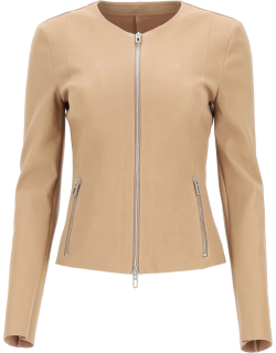DROME LEATHER JACKET M Beige, Brown Leather
