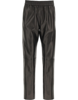 DROME LEATHER JOGGING TROUSERS M Brown Leather