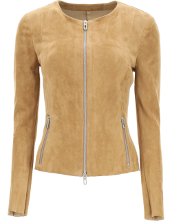 DROME SUEDE JACKET S Brown, Beige Leather