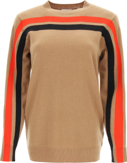 BURBERRY STEFFY SWEATER IN TECHNICAL CASHMERE S Brown, Red, Black Cashmere