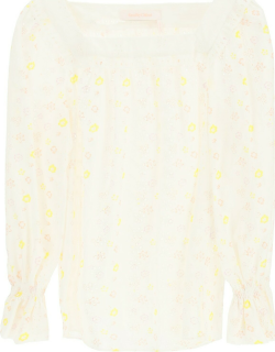SEE BY CHLOE EMBROIDERED COTTON VOILE BLOUSE 36 White, Yellow, Red Cotton