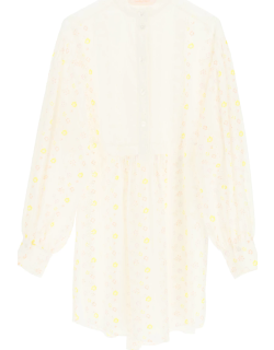 SEE BY CHLOE COTTON VOILE MINI DRESS WITH EMBROIDERIES 36 White, Yellow, Red Cotton