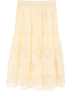 SEE BY CHLOE GUIPURE AND COTTON VOILE SKIRT 40 Beige Cotton