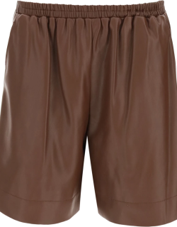STAUD CLARK SHORTS IN VEGAN LEATHER S Brown Faux leather