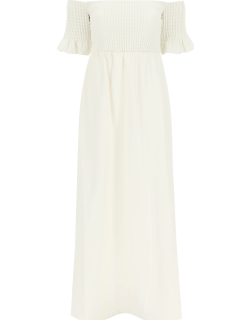 STAUD MAE DRESS IN VEGAN LEATHER M White Faux leather