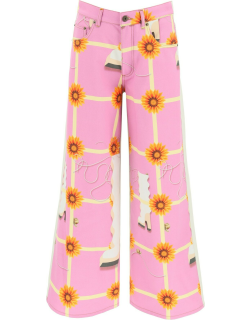 LOEWE PRINTED FLARED TROUSERS 38 Pink, Beige, Yellow Cotton