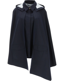 LOEWE COTTON CAPE WITH HOOD 36 Blue Cotton, Leather