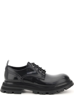 ALEXANDER MCQUEEN WANDER LEATHER LACE-UP SHOES 38 Black Leather