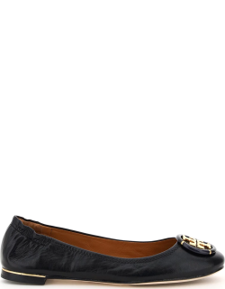 TORY BURCH MINNIE LEATHER BALLET FLATS 8 Black Leather