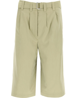 LEMAIRE PLEATED SHORTS 38 Green Cotton, Silk