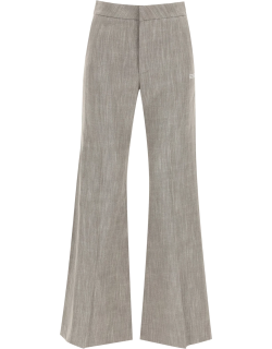 OFF-WHITE FLARED TROUSERS 40 Grey Linen