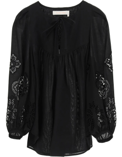 SEE BY CHLOE BLOUSE WITH GUIPURE 36 Black Cotton