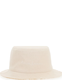 RUSLAN BAGINSKIY TWILL BUCKET HAT WITH PEARLS AND SHELLS M Beige, White Cotton