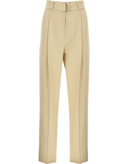 MSGM BELTED WIDE LEG TROUSERS 42 Beige Cotton