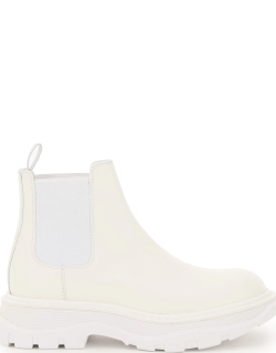 ALEXANDER MCQUEEN CHELSEA TREAD BOOTS 38 White Leather