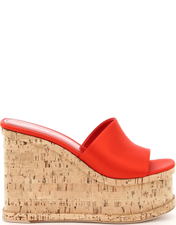 HAUS OF HONEY PALACE WEDGE MULES 37 Red, Beige Silk