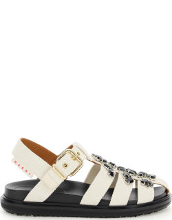 MARNI SANDALS WITH CRYSTALS 39 White, Black Cotton
